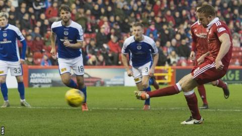 Adam Rooney scores a penalty for Aberdeen
