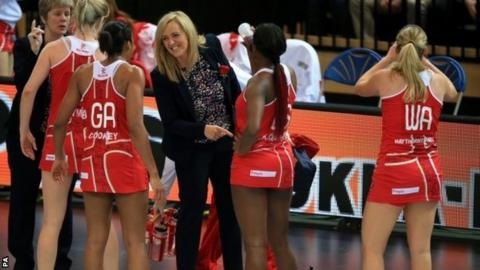 Tracey Neville coaching England against Trinidad & Tobago in June
