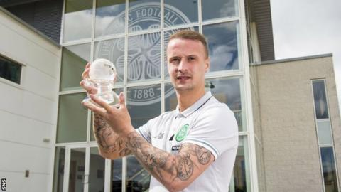 Celtic striker Leigh Griffiths with his PFA Scotland Player of the Year award