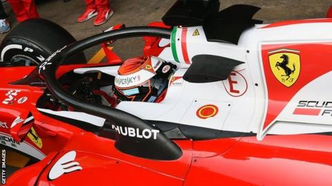 Kimi Raikkonen testing the halo in his Ferrari