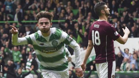 Patrick Roberts scored twice for Celtic in the win over Hearts