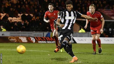 Myles Hippolyte scored once for St Mirren, a penalty against former side Falkirk