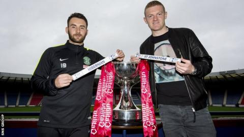 Hibs forward James Keatings and St Johnstone defender Brian Easton (right)