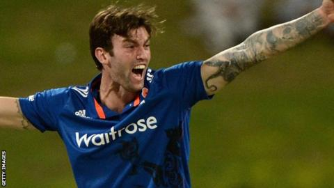 Reece Topley playing for England
