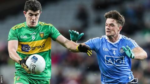Donegal's Stephen McBrearty comes under pressure from Dublin defender Eric Lowndes