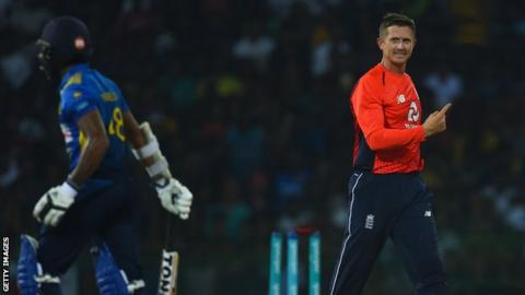 England's Joe Denly celebrates after bowling Sri Lanka opener Niroshan Dickwella