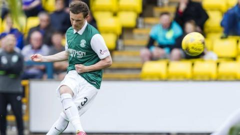Liam Henderson scores for Hibernian against Livingston