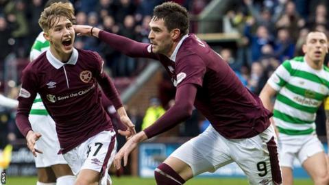 Hearts' scorers Harry Cochrane and Kyle Lafferty celebrate against Celtic
