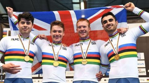 Charlie Tanfield, Ethan Hayter, Ed Clancy and Kian Emadi