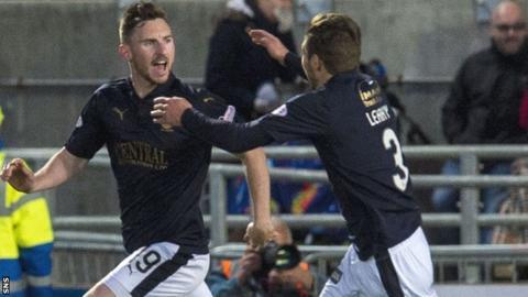Bob McHugh (left) celebrates his winning goal for Falkirk