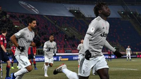 Moise Kean celebrates scoring for Juventus against Bologna in the Coppa Italia