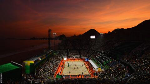 Sunset at the beach volleyball arena