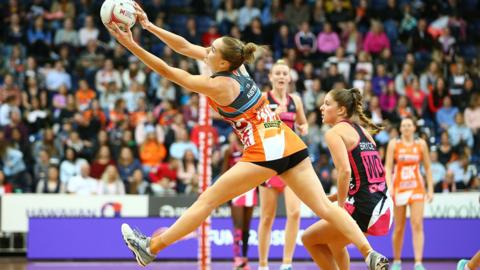 CANBERRA, AUSTRALIA - JULY 01: Kiera Austin of the Giants in action during the round nine Super Netball match between the Giants and the Thunderbirds at AIS on July 1, 2018 in Canberra, Australia. (Photo by Mark Nolan/Getty Images)