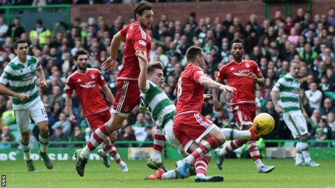 Celtic and Aberdeen players
