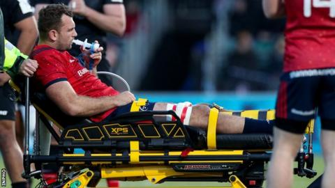 Northern Ireland Tadhg Beirne was given oxygen as he left the field on a stretcher during Saturday's match