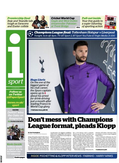 Saturday's i sport back page reads: 'Don't mess with Champions League format, pleads Klopp'