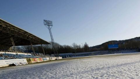 Cappielow has been left unplayable by the frozen conditions
