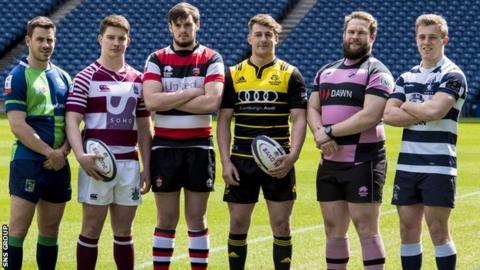 (L-R) Chris Laidlaw (Boroughmuir), Ross Graham (Watsonian FC), Ross Bundy (Stirling County), Craig Jackson (Melrose), Steven Longwell (Ayr), Nick Sutherland (Heriots)