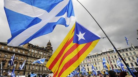 Scotland and Catalan flags