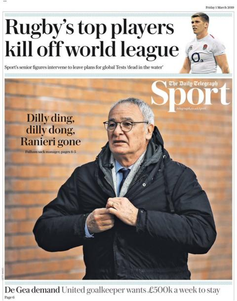 Telegraph back page on Friday
