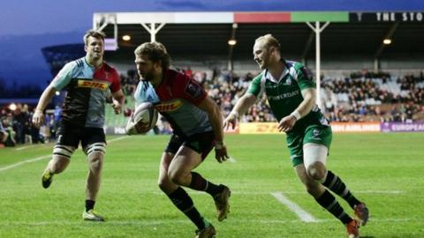 Luke Wallace got the first and fourth of Harlequins' five tries at The Stoop