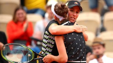 ca9df39fbf5 Johanna Konta embraces Marketa Vondrousova after the defeat. Johanna Konta  had not won a match at Roland Garros ...
