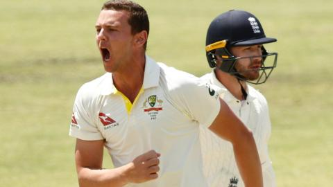 Josh Hazlewood celebrates the wicket of Mark Stoneman