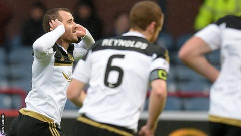 Niall McGinn celebrates his opening goal at Dens Park
