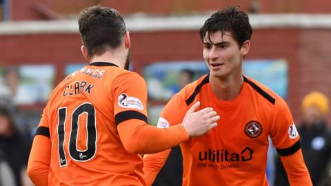 Dundee United's Nicky Clark and Ian Harkes celebrate