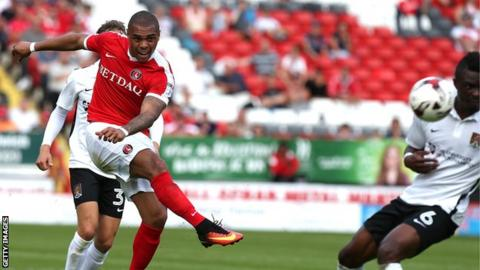Josh Magennis makes his Charlton debut in Saturday's 1-1 draw against Northampton Town at the Valley
