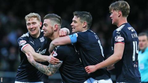 Kerr Waddell (second left) celebrates scoring against Ross County
