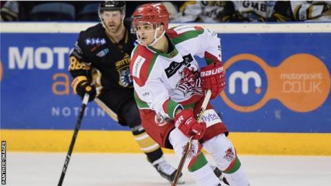Sam Duggan launches a Cardiff Devils attack at Nottingham Panthers