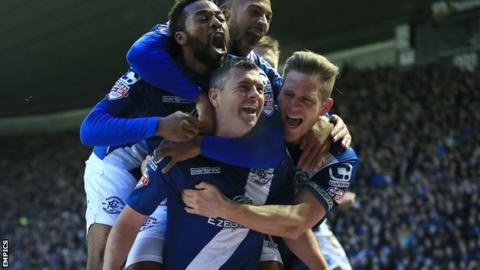 Paul Robinson celebrates Birmingham City's opening goal in the 3-0 win at Derby
