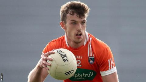 Ethan Rafferty notches Armagh's goal in the second half at Crossmaglen