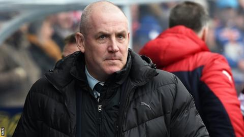 Mark Warburton pictured during his final match as Rangers boss against Ross County