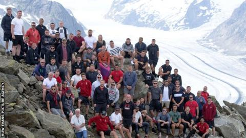 Wales players and staff in Fiesch