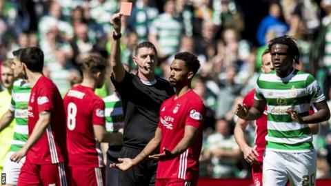 Shay Logan is sent off