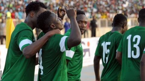 Nigeria team in action in a 2016 Africa Cup of Nations qualifier