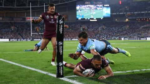 SYDNEY, AUSTRALIA - JUNE 24: Will Chambers of Queensland scores a try during game two of the State of Origin series between the New South Wales Blues and the Queensland Maroons at ANZ Stadium on June 24, 2018 in Sydney, Australia. (Photo by Cameron Spencer/Getty Images)