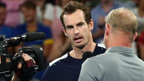 Andy Murray interviewed on court after first round defeat at Australian Open