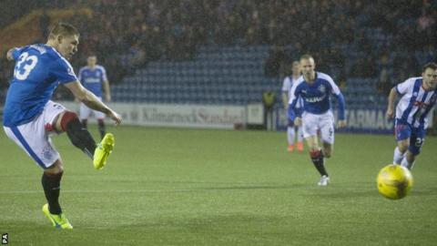 Martyn Waghorn scores a penalty for Rangers against Kilmarnock