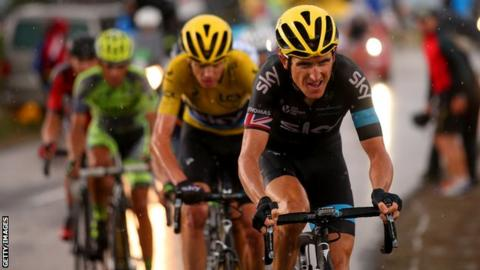 Geraint Thomas leads Team Sky team-mate Chris Froome through a rain-soaked 12th stage of the Tour de France