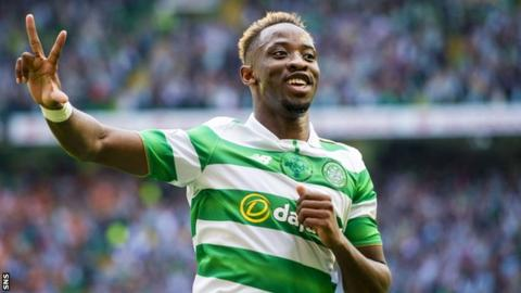 Moussa Dembele celebrates after scoring his third goal for Celtic