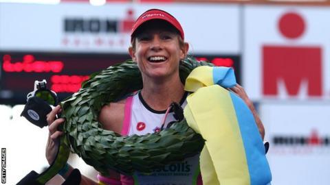 Leanda Cave celebrates winning the 2014 Ironman Kalmar