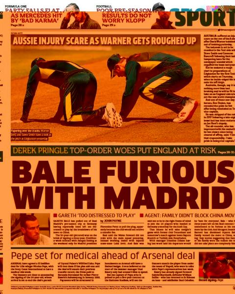 Metro back page on Tuesday