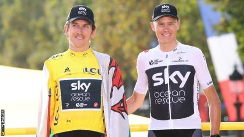 Geraint Thomas and Chris Froome on the Tour de France podium in 2018