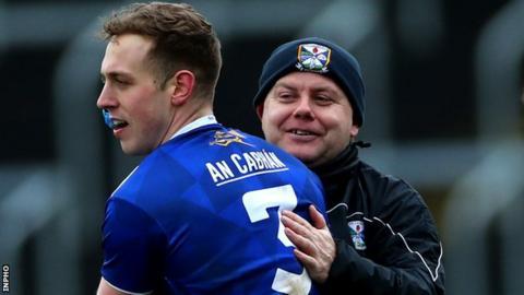 Cavan boss Mickey Graham celebrates with Padraig Faulkner after last weekend's win in Laois