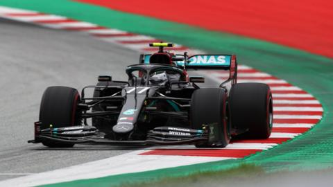 Mercedes driver Valtteri Bottas steers his car during the first practice session at the Austrian Grand Prix