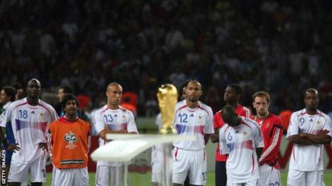 France players after losing the 2006 final to Italy