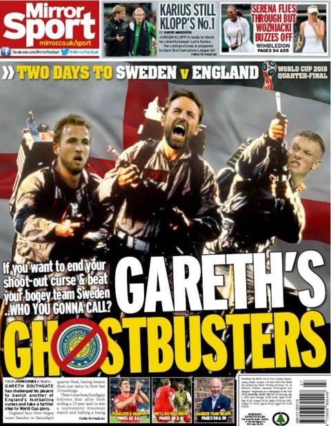 Mirror back page on Thursday